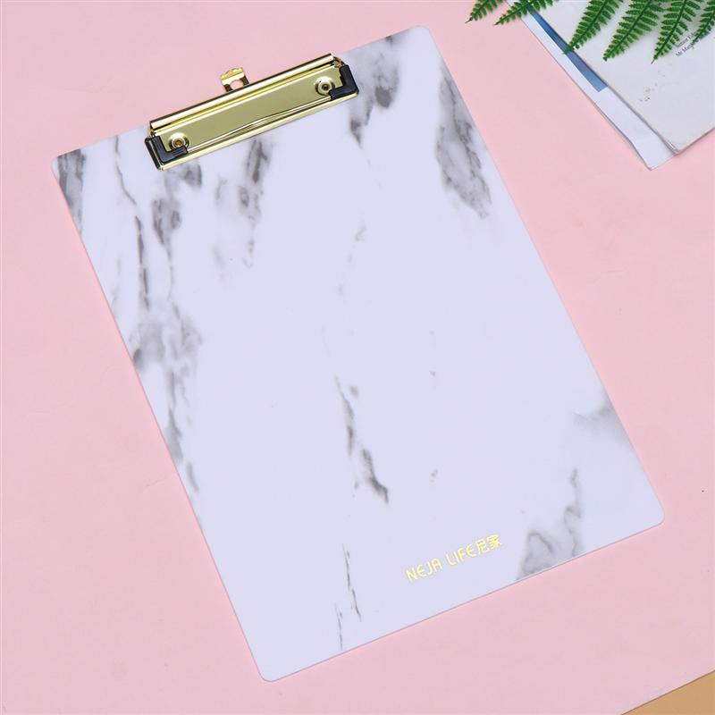 Marble A4 Size PP Clipboard File Folder Stationary Board Hard Board Writing Plate Clip Report Office Supplies