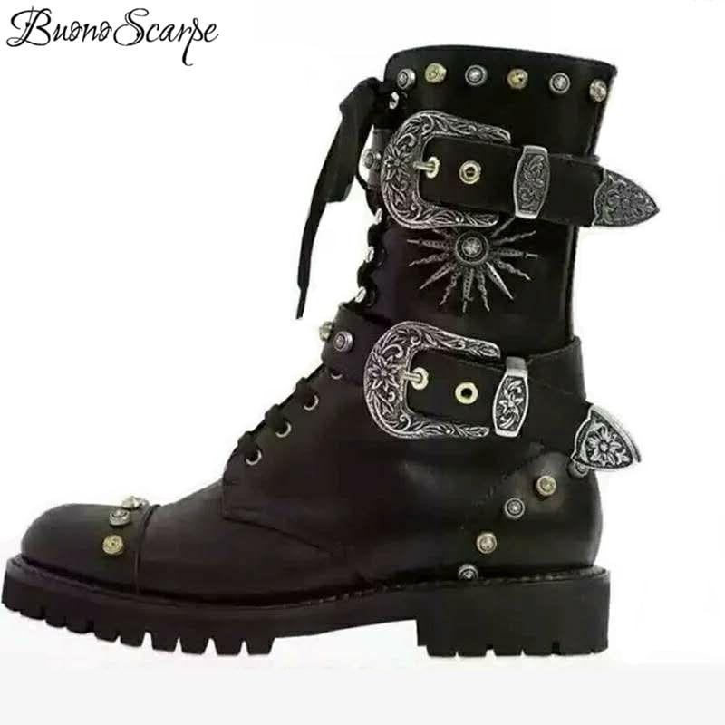 Metal Rivets Punk Women Black Boots