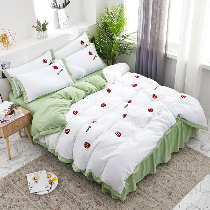 Korean-style Princess Style 100% Cotton 4-piece Set Lotus Leaf Lace Bed Skirt 100% Cotton Bedding 2.0/1.5/1.8m Bed