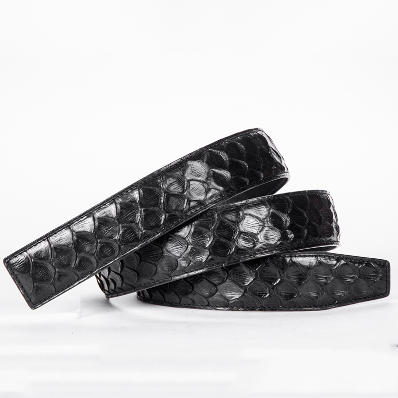 Authentic Snake Skin Mens Genuine Python Leather Natural White Pin Belt