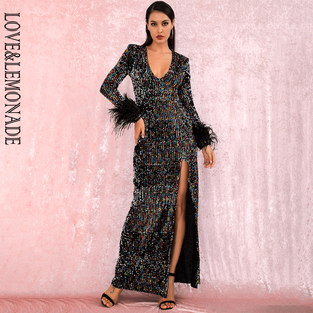 LOVE&LEMONADE Sexy Deep V-Neck Feathers Color Reflective Sequins Elastic Long Sleeves Split Maxi Dress LM82143