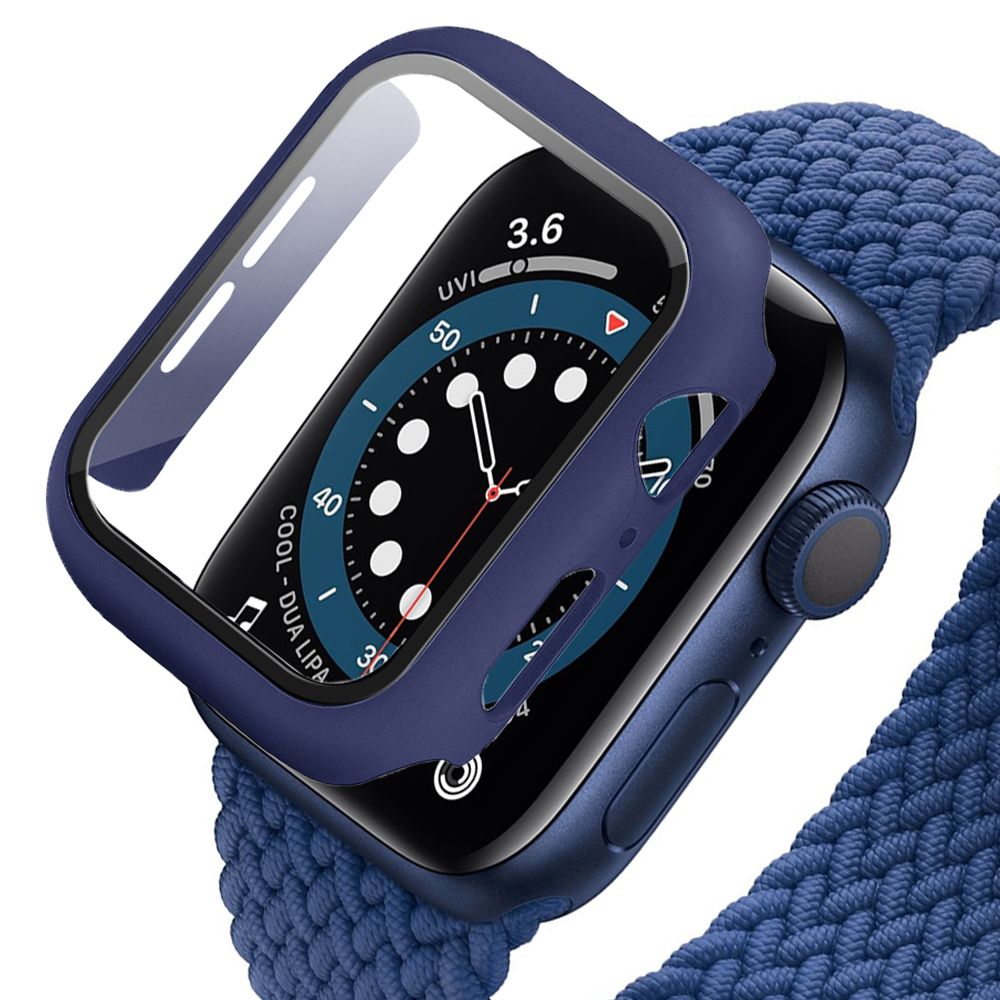 Hard-Case Bumper-Frame Tempered-Glass-Film Apple Watch Full-Screen-Protector 360