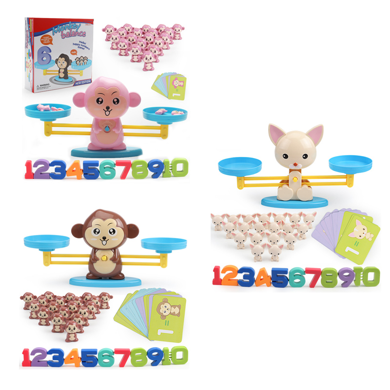 Early Learning Balance Math Match Game Board Toys Monkey Digital Balance Scale Toy Educational Toy Addition Subtraction Math Toy