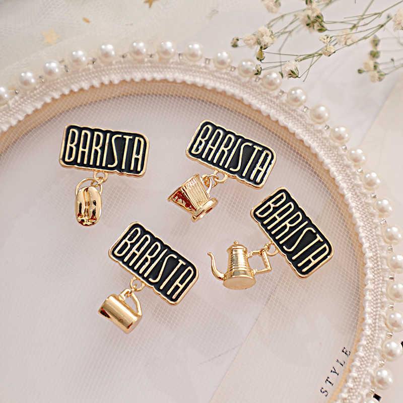 Leuke Vintage Metalen Koffie Cup Gebruiksvoorwerpen Hanger Badge Retro Barista Broches Tas Accessoires Sieraden Voor Vrouwen Emaille Pin