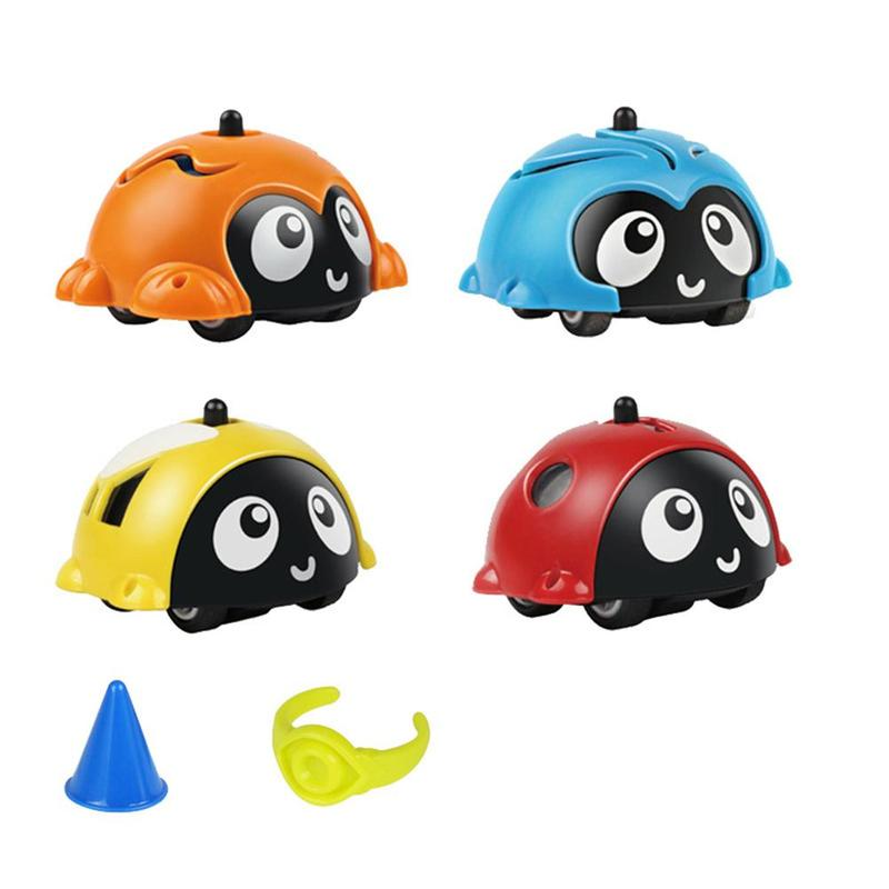 Multi-function Gyro Model Car Toy Cartoon Gyro Inertia Insect Multi-function Car Baby Racing Collision Gyro Car Desk Toy
