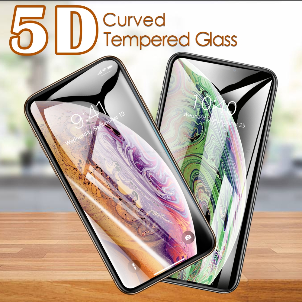 5D Curved Edge Full Cover Tempered Glass For iPhone 7 8 6 6s Plus X 10 XR XS Max Screen Protector Tough Protective Film in Phone Screen Protectors from Cellphones Telecommunications