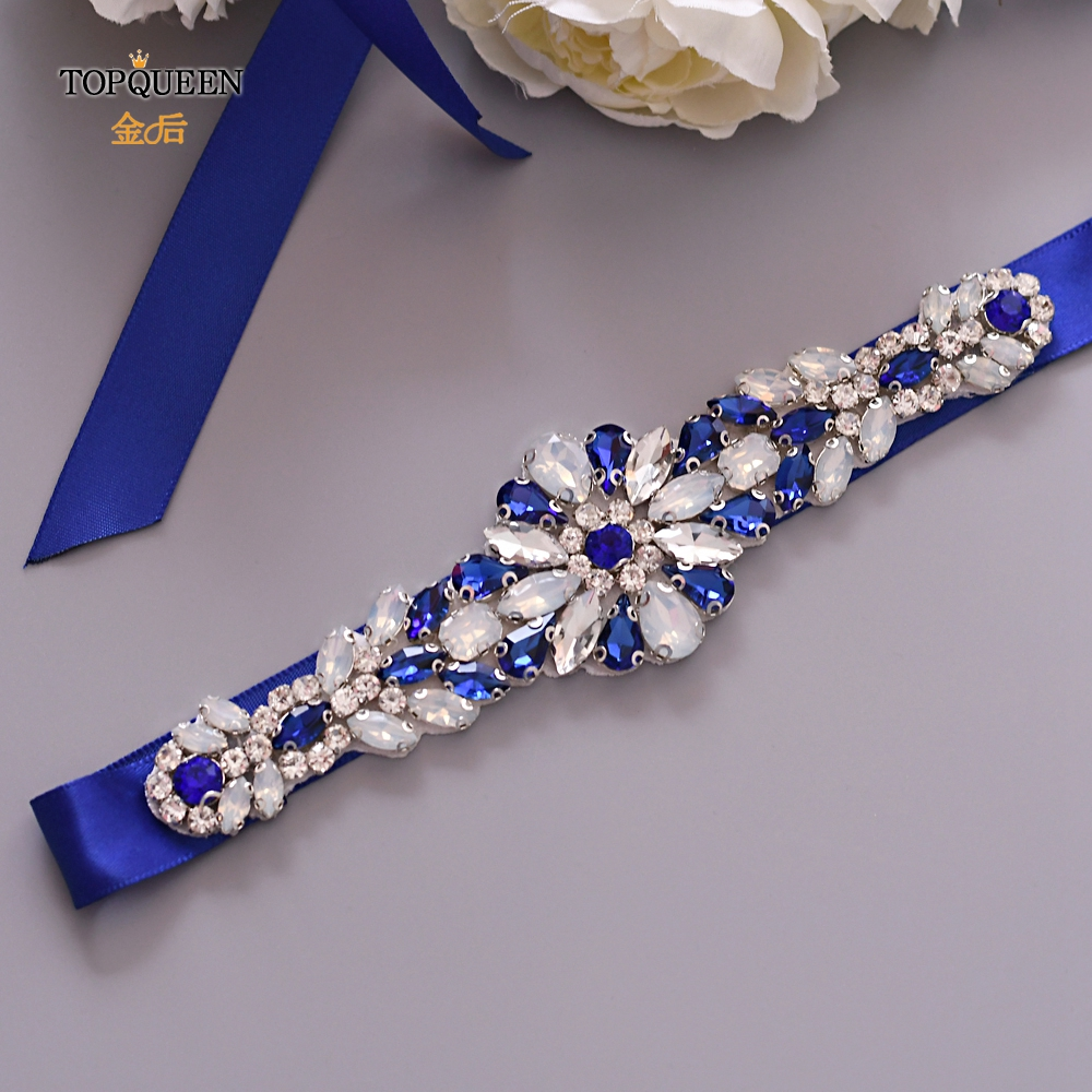 TOPQUEEN S424 Bridal Diamond Belt Royal Blue Beaded Belt Fashion Design Milk Rhinestone Bridal Belt Popular Wedding Bridal Belt
