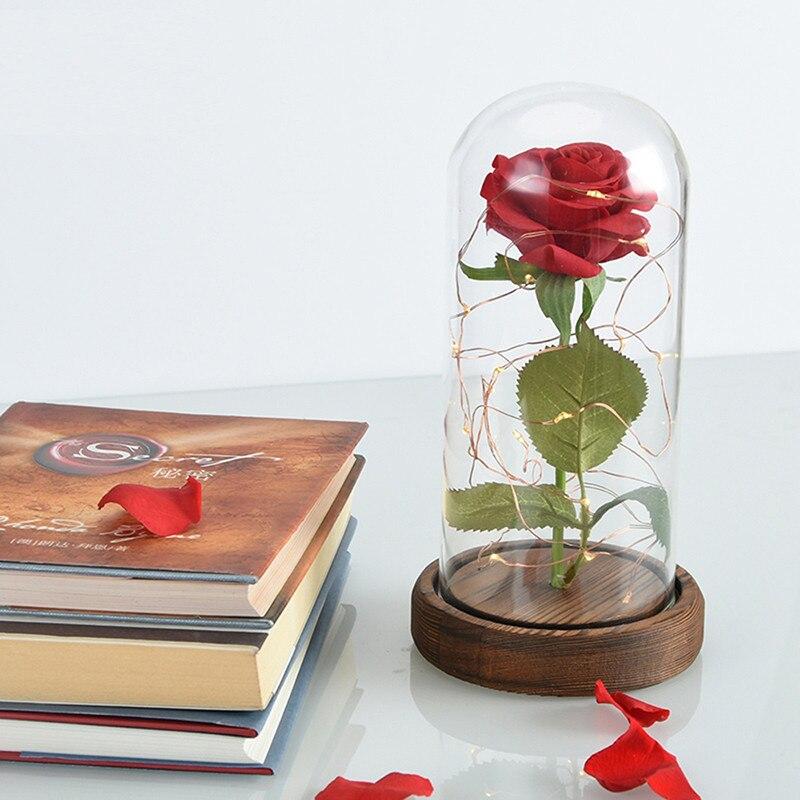 6 стилей,, свежие цветы красавицы и чудовища, красные вечные розы в стеклянном куполе, Рождественский подарок на день Святого Валентина, Прямая поставка - Цвет: Artificial Rose