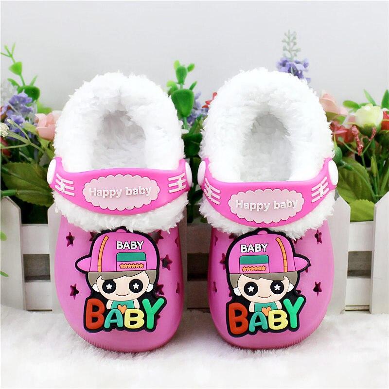Детские сандалии; детские тапочки; сезон лето-осень; обувь для малышей; Домашние сабо с вырезами; обувь для пляжа и сада; съемная шерстяная нескользящая обувь - Цвет: rose red 1