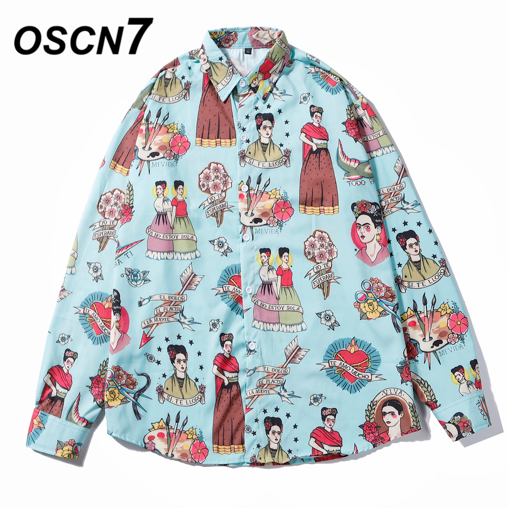 OSCN7 Casual Printed Long Sleeve Shirt Men High High Streetwear 2019 Fall Women Shirt Retro Shirts Harujuku Mens Shirt