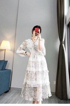 New Pleat lace spliced hollow long dress female lace spliced cotton beach girl фото