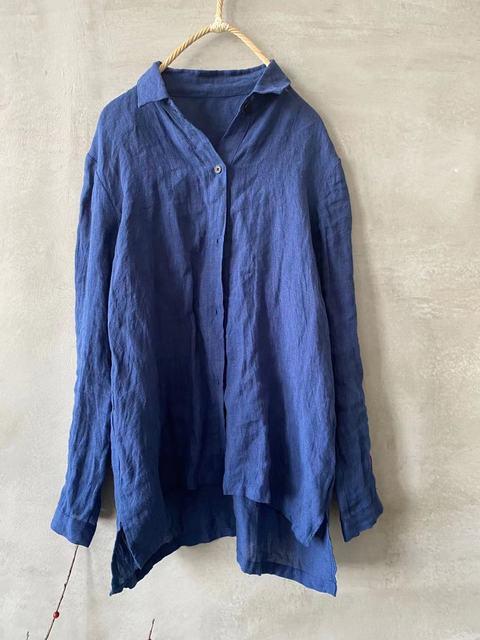 Women linen Spring Autumn Solid COlor Simple Blouse shirt Tops Ladies Vintage Irregular Length Flax Shirt Tops 2020 6