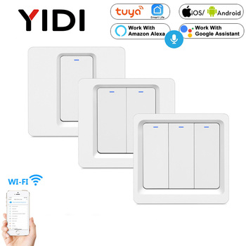 WiFi Smart Light Wall Switch Push Button Smart phone APP Remote Control Voice Control Smart Life Tuya 1/2/3 gang Switch 1