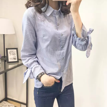Preppy style Turn-down collar long sleeve shirt blouse for women with Loose casual sweater sleeveless knitting vest Tops preppy style long sleeves shirt collar bow tie design women s blouse