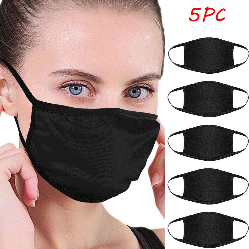 Masque Facial Anti poussière, bavette en tissu réutilisable, lavable, Protection buccale pour femmes et hommes, 5 pièces |