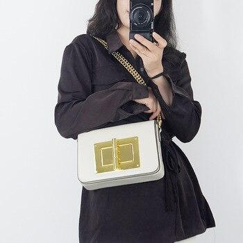 Solid Color Metal Lock Crossbody Bag for Women 2020 New Fashion Single Shoulder Messenger Chain Bag Ladies Fashionable Purses gg недорого