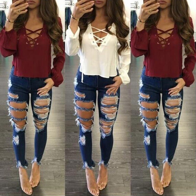 Skinny Boyfriend Hole Ripped Jeans Women Pants Cool Denim Fashion Straight Jeans For Girl Mid Waist Casual Pants Female Stretch