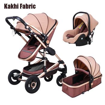 Babyfond Luxury Baby Stroller 3 in 1 High Landscape Baby Pram Fashion Carriage EU Design Pram Two Way Baby Stroller For Car image