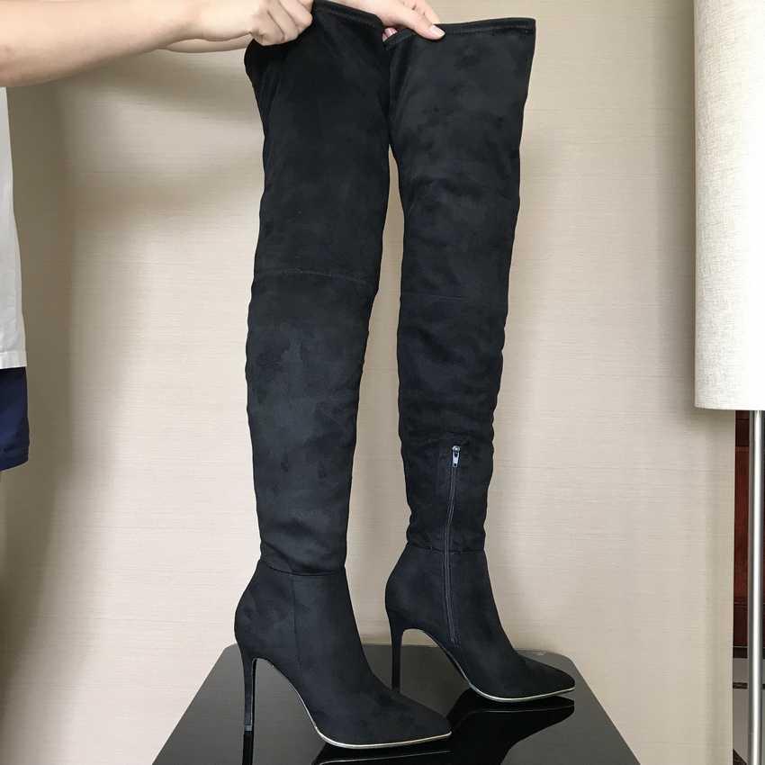 2019 vrouwen dij hoge laarzen sexy Stretch Stoffen over de knie laarzen voor vrouwen mode herfst winter lange laarzen vrouw schoenen