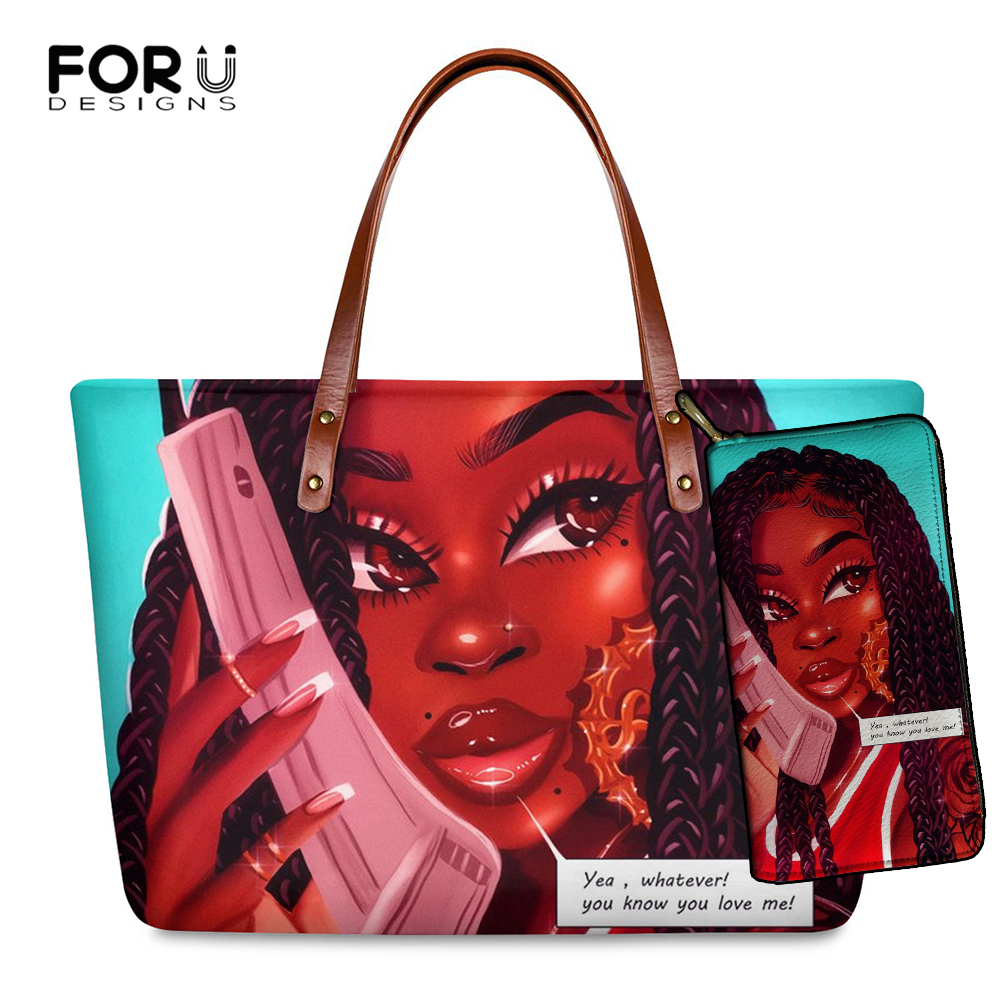 FORUDESIGNS Brand Luxury Design Handbags Women Black Art African Girl Printing 2pcs/set Hand Bag&Wallet Females Top Handle Bags|Shoulder Bags| - AliExpress