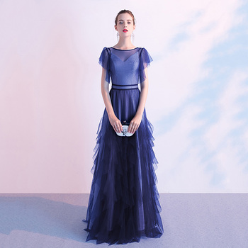 Deep V-neck Asmmetrical Evening Party Gown Elegant Qipao Blue Mesh Formal Party Dress Lady Robe De Soiree Full Length Prom Dress