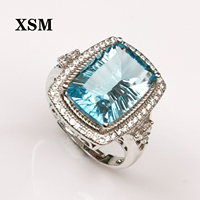 XSM Hyperbole Topaz Ring 925 Sterling Silver set with natural blue sky topaz Rings for Women Party Ring Silver 925 Gemstones J