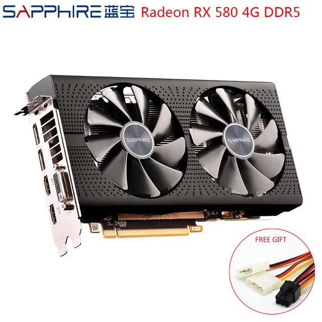 Видеокарта SAPPHIRE AMD Radeon RX 580, 4 Гб 256 бит, игровые графические карты для ПК, GPU RX580 4 ГБ GDDR5, игровые графические карты, б/у RX580