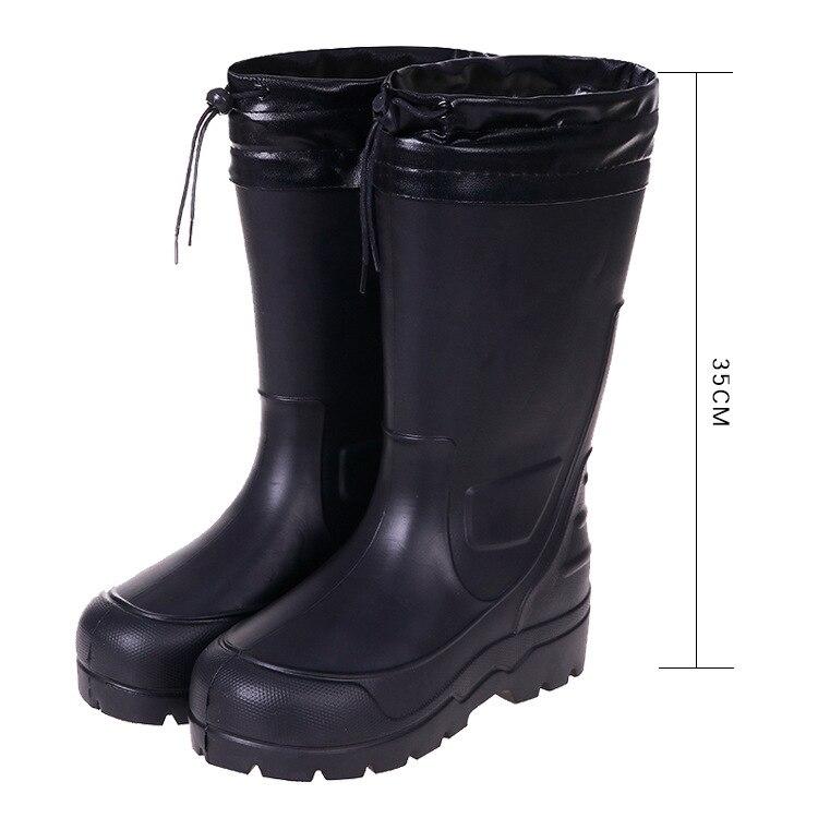 Winter Warm Light Kitchen Work Water Boots Men's High - Tube Rain Boots EVA Acid - Alkali - Resistant Oil Women Rain Shoes 39-47