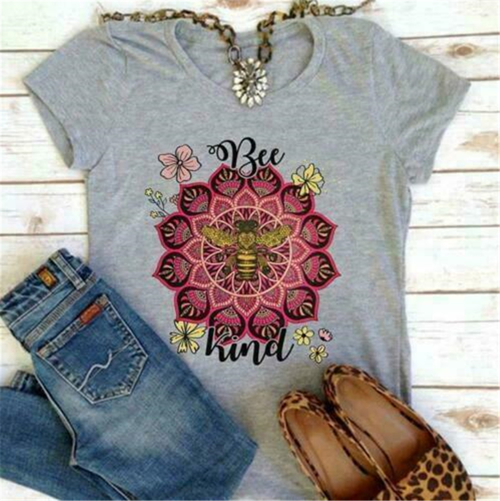 Bee Kind Floral Ladies T Shirt Men Women Sport Grey Cotton S-3XL Printed In US Plus Size Tops Tee Shirt