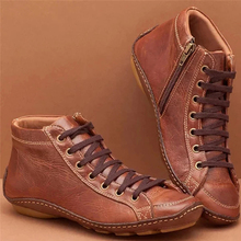 SFIT 2019 Winter Boots Women Shoes Casual Flat Leather For Autumn Ankle Ladies Botas size 43