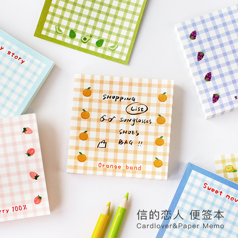 100 Sheets Sweet Fruit Grid Series Memo Pad Message Notes Decorative Notepad Note Paper Memo Stationery Office Supplies
