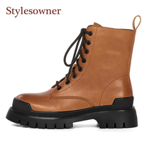 British Style Martin Boots Woman For Autumn Winter Genuine Leather Round Toe Lace Up Thick soled Handsome Light Brown Boots