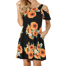 Women's Dress Off Shoulder Dresses Short Sleeve Vadim Bohemian Flower Print Loose Dress O-Neck Vestidos De Fiesta De Noche F26(China)