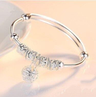 Luxury Fashion Sliver 925 Sterling Silver Charm Stone Bangle Cuff Bracelet Ball Bell Pendants Women Jewelry Gift
