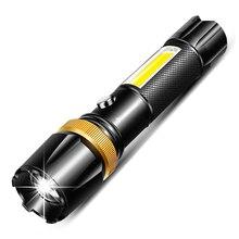 Latarka Led 6000 lm ultra jasny latarka T6/L2 COB lampa kempingowa 5 tryby przełączania linterna Zoomable światło rowerowe 18650