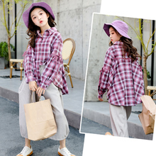 Casual Girls Blouses New Autumn Long Sleeve Loose Plaid Kids Shirts Special Top Fashion Cotton Baby Girls Clothes Patchwork Bow new dew shoulder design clothes the horn sleeve beautiful stripe girls blouses