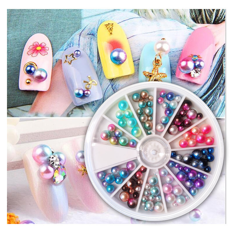 Nail Ornament Mixed Japanese-style Candy Ball Nail Sticker 12 Color Turntable-about 120 Elves Beads