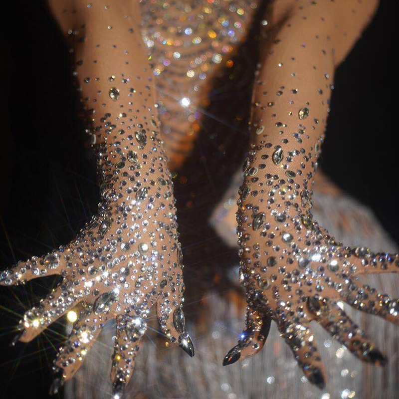 Luxurious Stretch Rhinestones Gloves Women Sparkly Crystal Mesh Long Gloves Dancer Singer Nightclub Dance Stage Show Accessories