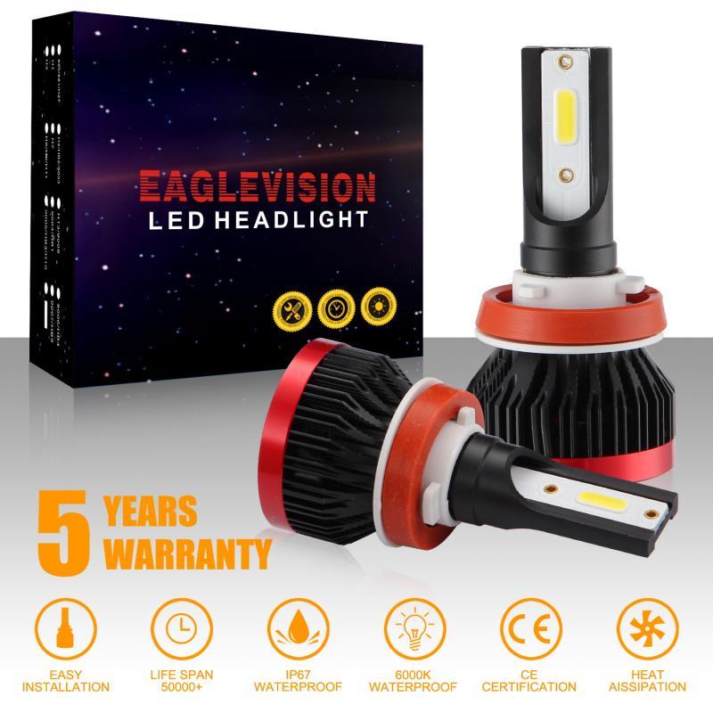 2 Pcs EV7 H1 H4 H7 H8 9005 9006 HB2 CAR LED Headlight Kit 110W 26000LM Hi-Low Beam Bulb 6000K White Headlight Bulb