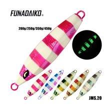 Funadaiko chumbo isca de pesca artificial metal jigging colher isca de pesca lento jig jigging isca 200g 250g 350g 450g 550g