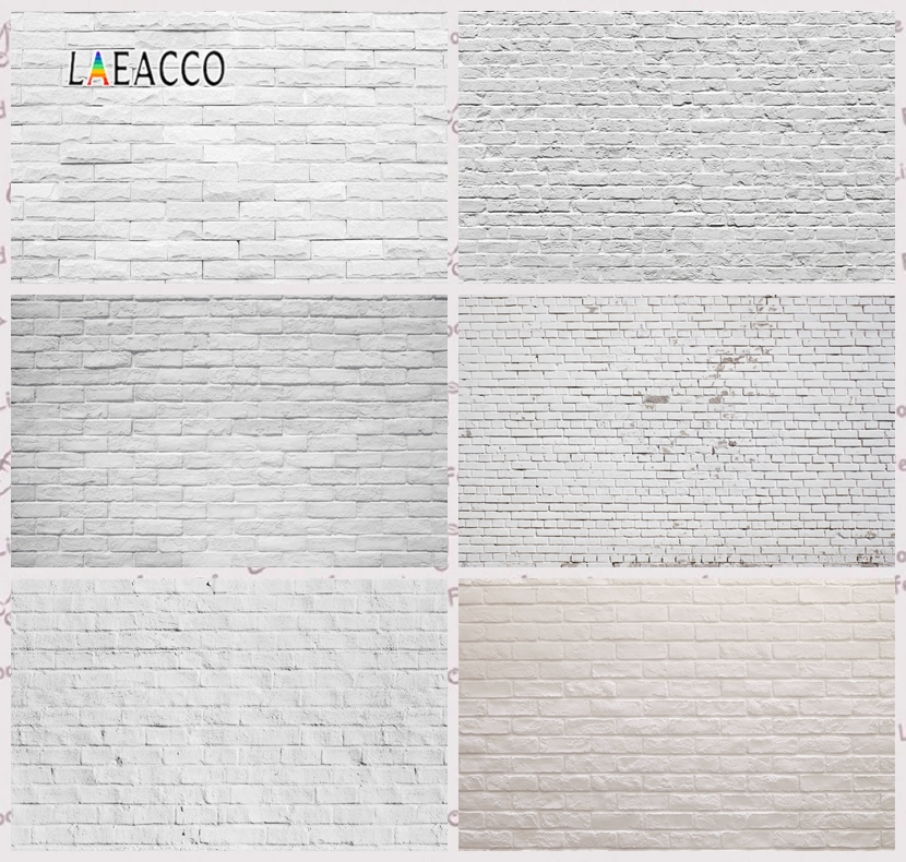 Laeacco Gray White Brick Wall Wedding Portrait Grunge Photography Backgrounds Customized Photographic Backdrops For Photo Studio