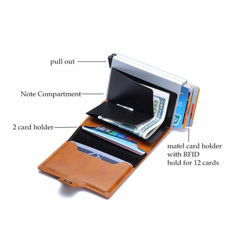 Bycobecy Neue Carbon Faser Anti Rfid Kreditkarte Halter Männer Karteninhaber Metall Aluminium Doppel Box Bank ID Halter Minimalistischen Brieftasche