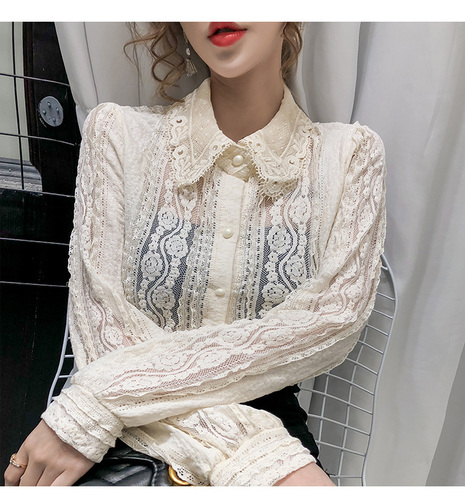 Sexy Women Tops Blouse 2021 Autumn Hollow Lace Shirt Cotton Long Sleeve Women Blouse Beading Thin Office Lady Clothing 10457 7