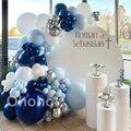 Темно-синие белый серебристый воздушный шар гирлянда арочный комплект римские Себастьян Декор День рождения маленьких крещение для душа; Н...