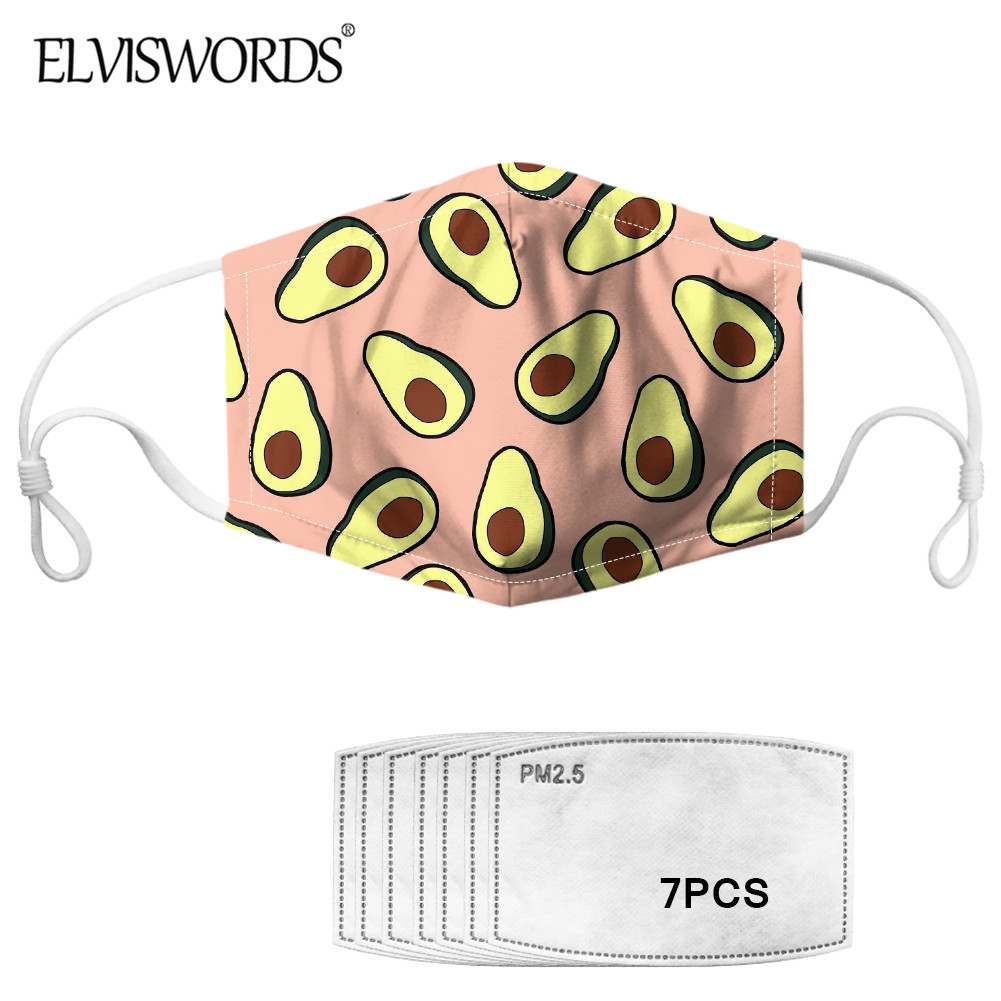 ELVISWORDS Cute Avocado Print Mouth-Muffle Dustproof Reusable Women Men Cartoon Mouth Mask WIth 7 Pieces PM 2.5 Face Mask Filter