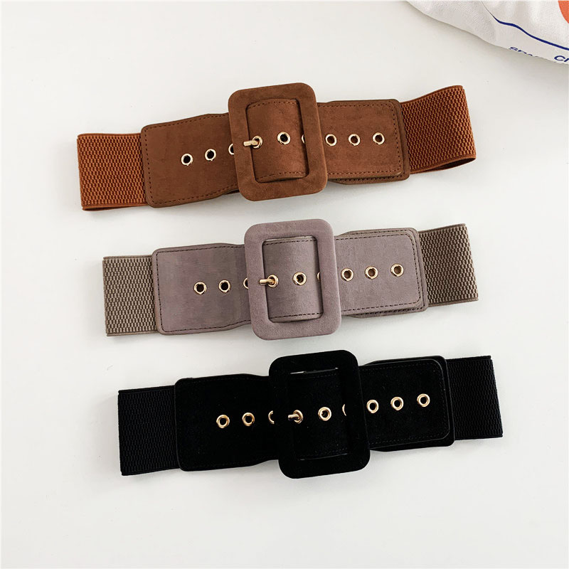 Woolen Cloth Women Belts Luxury Brand Square Buckle Wide Waist Strap For Dress Party Casual Black Ladies Female Waistband