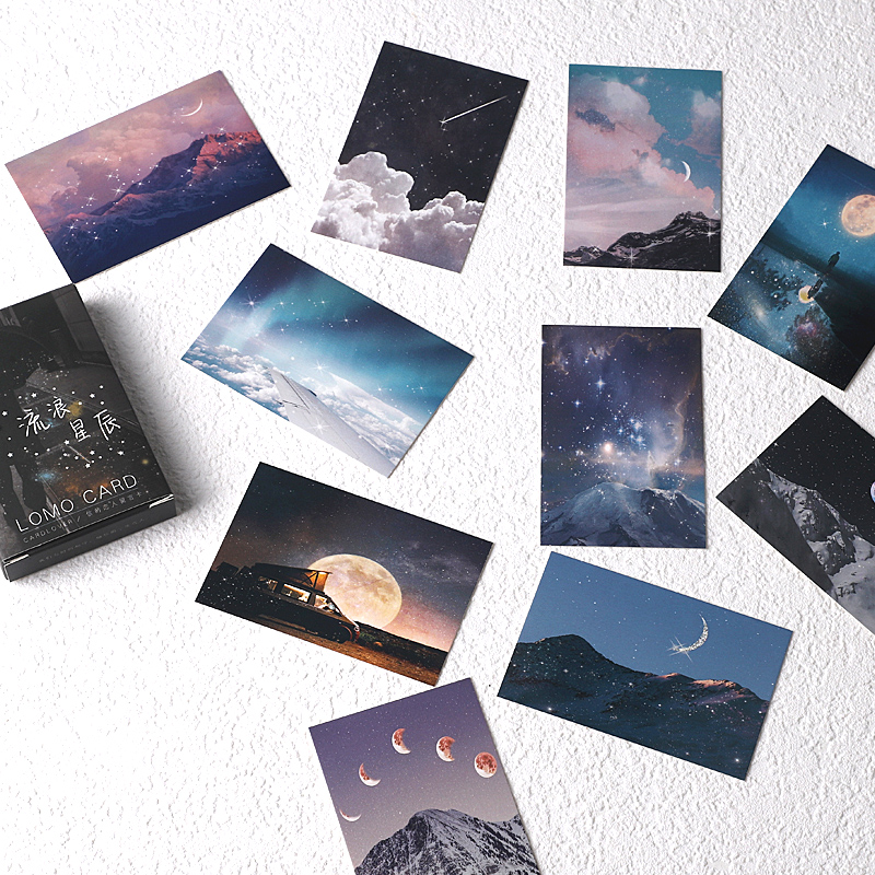 28 Sheets/Set Wandering Stars Lomo Card Cartoon Mini Postcard Message Card Christmas Gifts