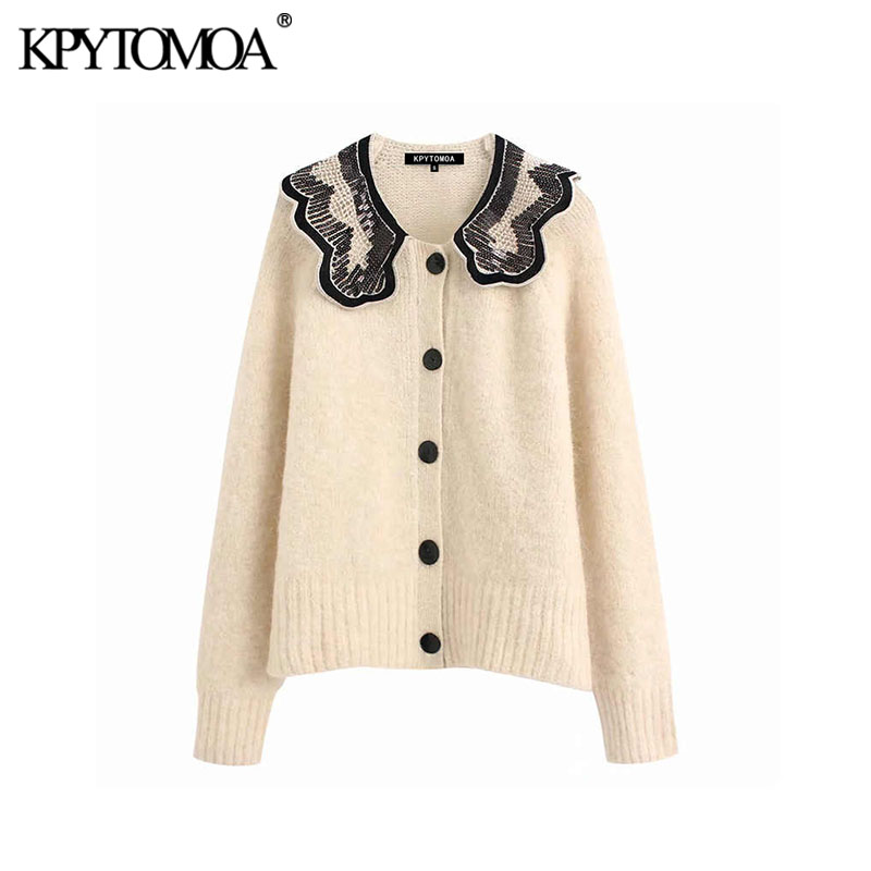 Vintage Sweet Sequin Appliques Knitted Sweater Women 2020 Fashion Lapel Collar Long Sleeve Female Pullovers Chic Tops