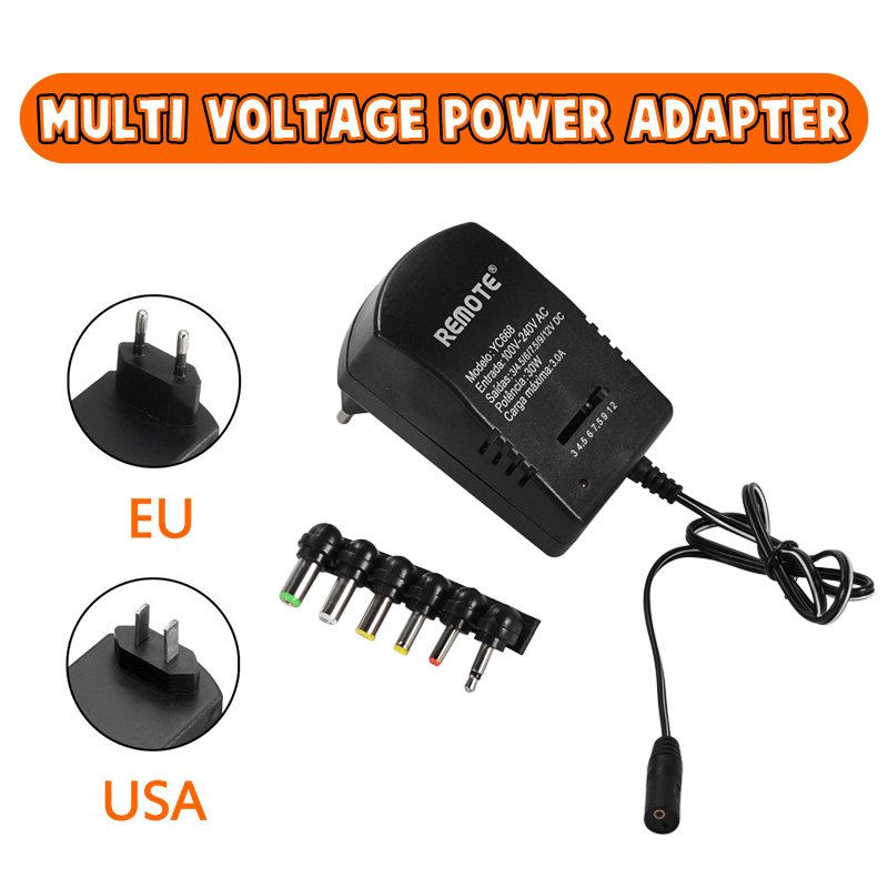 Multi Voltage 3v 4.5v 5v 6v 9v <font><b>12v</b></font> DC <font><b>Adaptor</b></font> Adjustable Power Adapter Universal Charger Power Supply Converter Cable 6 Plugs image