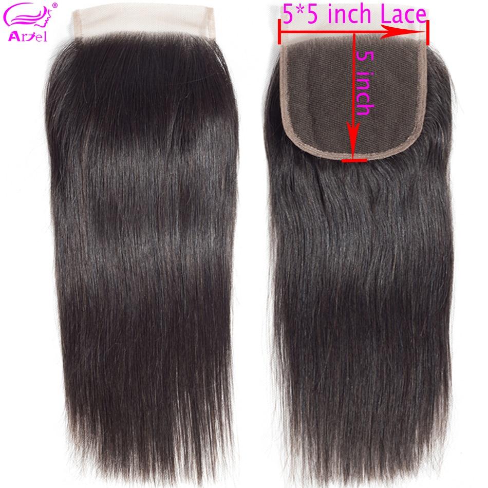 Ariel Lace Closure Human-Hair Straight Brazilian Hair-Swiss 5x5